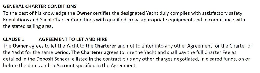 Click the General Charter Conditions for more terms and conditions or to download.
