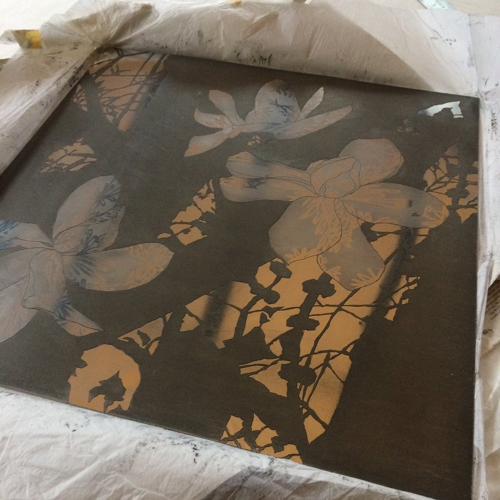 Shadow Flowers .Etching plate.