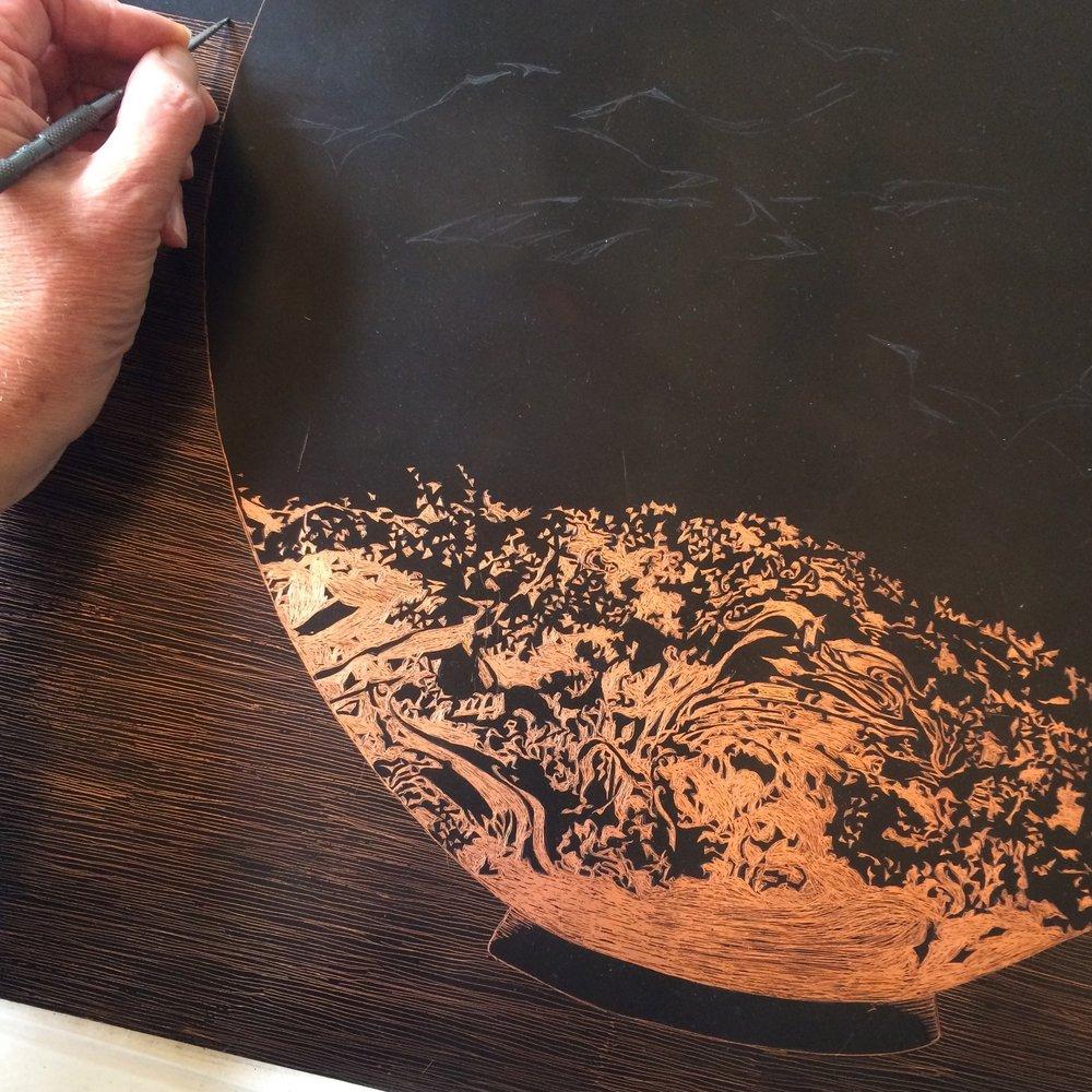 Working on  Moon Jar No.1 ,drawing through.