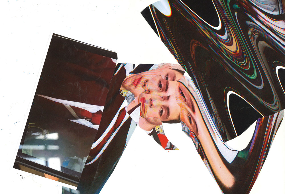 Turning the glitched portraits into Hannah Hoch style collages.