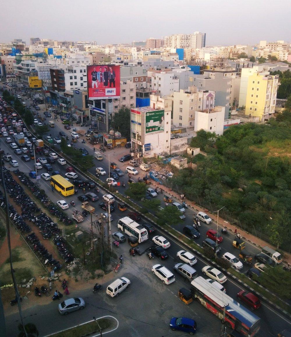 El tráfico normal en Hyderabad.