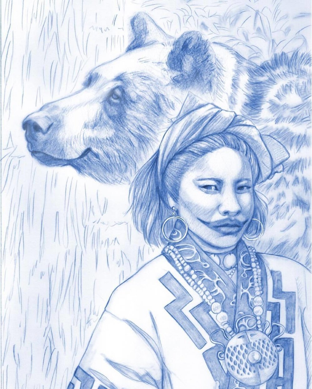 Final drawing for the Ainu people of Japan 🇯🇵. If you were wondering about the strange mouth, traditionally the Ainu women tattooed around their mouths, it was a sign of a woman's readiness for marriage (it would start with a small dot which was added to each year) it was frowned on and outlawed by feudal Japan but they continued the practice right up to the early 20th Century. @blueangelpublishing #oraclecard #ainu #bear #liptattoo