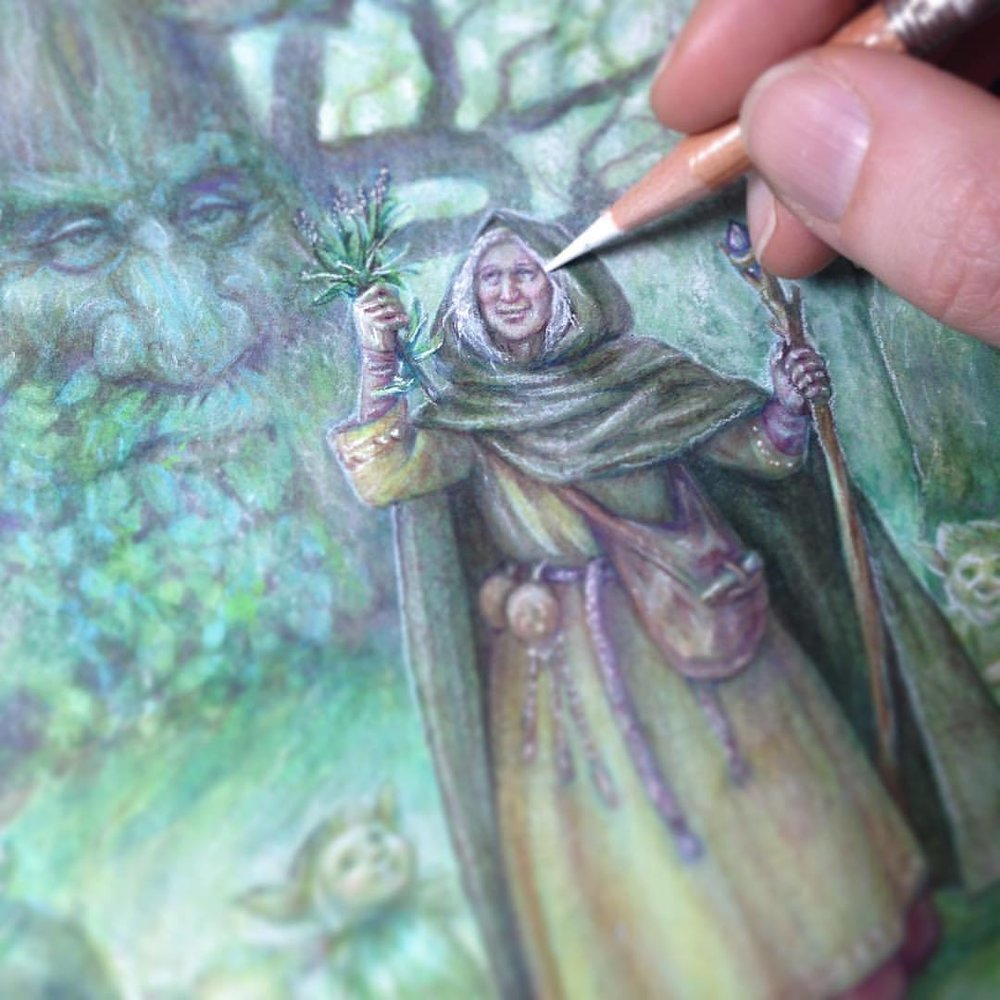 Finishing touches being put onto Card 11-England-Anglo Saxons-Earth Magic for @blueangelpublishing #watercolor #oraclecards #earthmagic #fantasyart #belindaillustrates #australianartist #illustratorsoninstagram #july2018  (at Melbourne, Victoria, Australia)