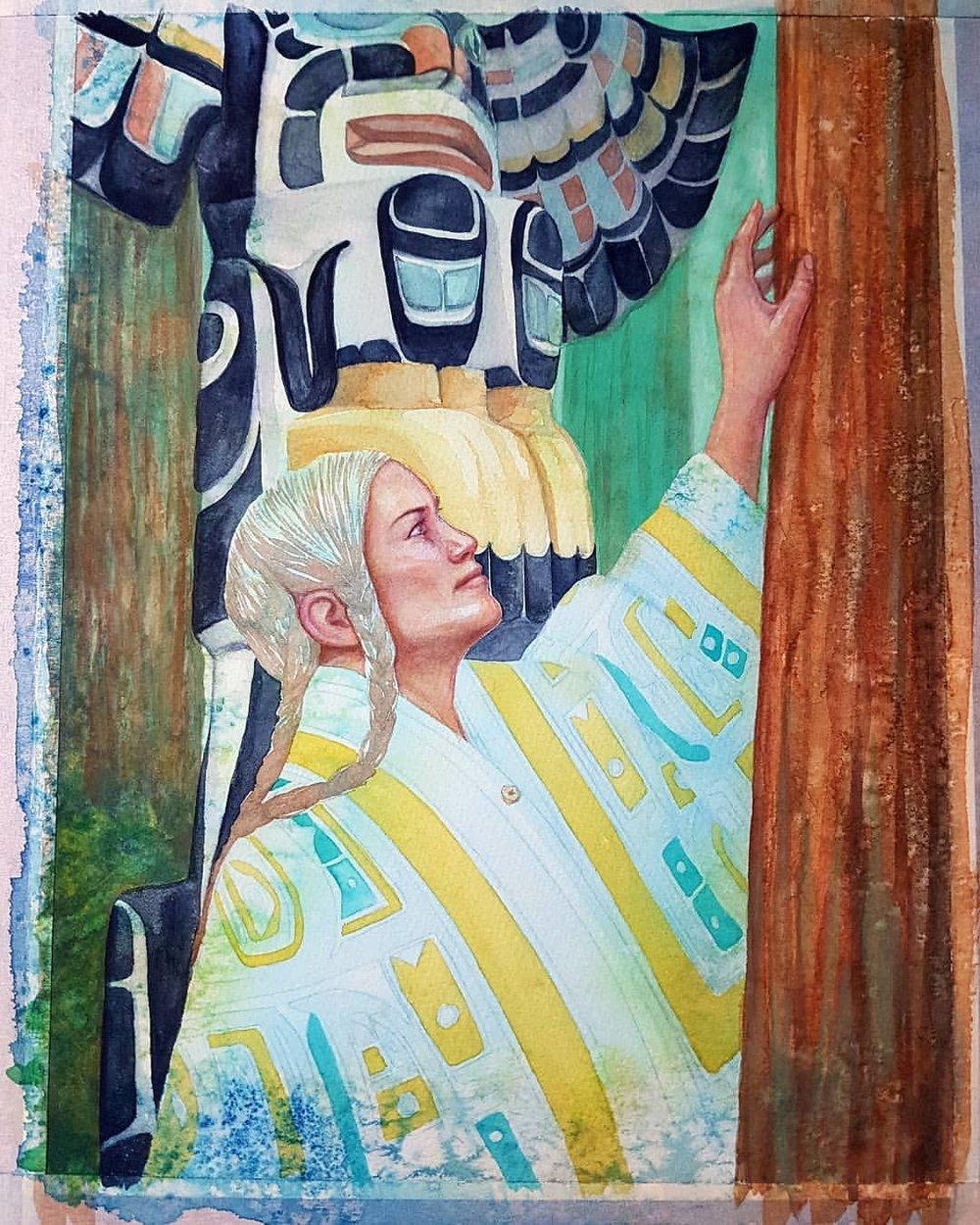 Almost finished 😁    Work in progress for Card 8 - Alaska for Ancient Spirit Oracle Cards   #ancientspirit #oraclecard #workinprogress #blueangel #jadesky #belindaillustrates #australianartist #melbourneartist #june2018 #illustratorsoninstagram