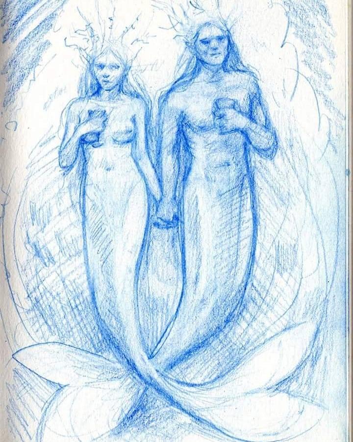 Two of Cups design sketch for 78 Tarot Elemental deck.     #MerMay #78tarotelemental #prismacolor #tarotart @78tarot  #fantasyart #mermaid #mermaidart #sketchbook #bluepencil #belindaillustrates #australianartist #melbourneartist #may2018