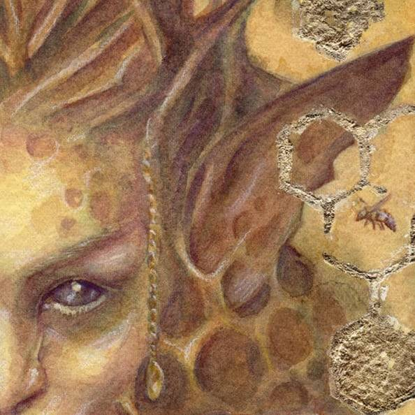 Close up on the finished art for the Honeycomb Unseelie Fae for the upcoming Changelings Artist Collective Odd Fae card game. It's so good to have these finished so I can dig into some awesome art projects coming up 😁     @changelingartist #oddfae #honeycomb #fae #belindaillustrates #australianartist #melbourneartist #may2018 #watercolorpainting #fantasyart #goldleaf  #cardart