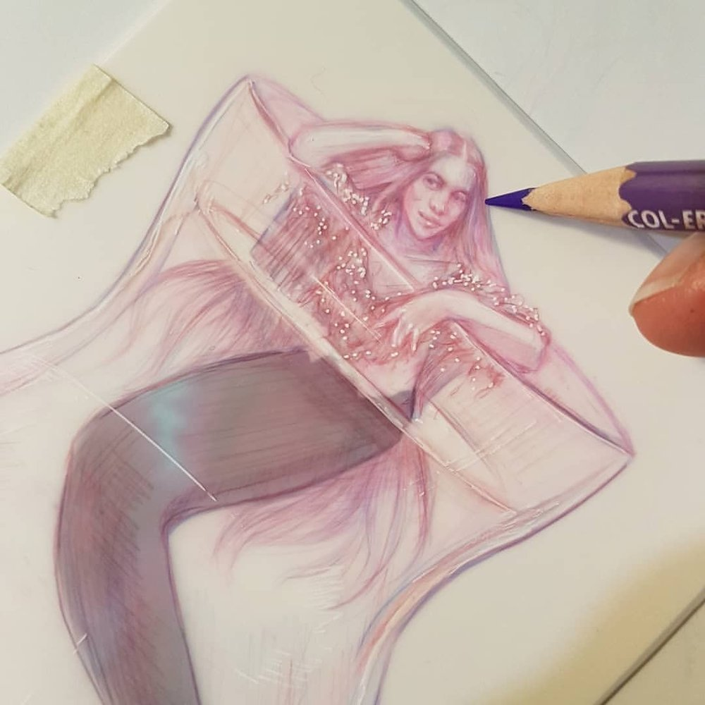 Just a mermaid chilling out in a vase 😁    Prismacolor Col-erase pencil and gel pen on matte Dura-lar paper     #MerMay #mermaid #belindaillustrates #australianartist #melbourneartist #may2018 #sketch #drawing #fantasyart #fantasyillustration #prettyinpink #mermaidart #art @changelingartist @grafixartsplastics  (at Melbourne, Victoria, Australia)
