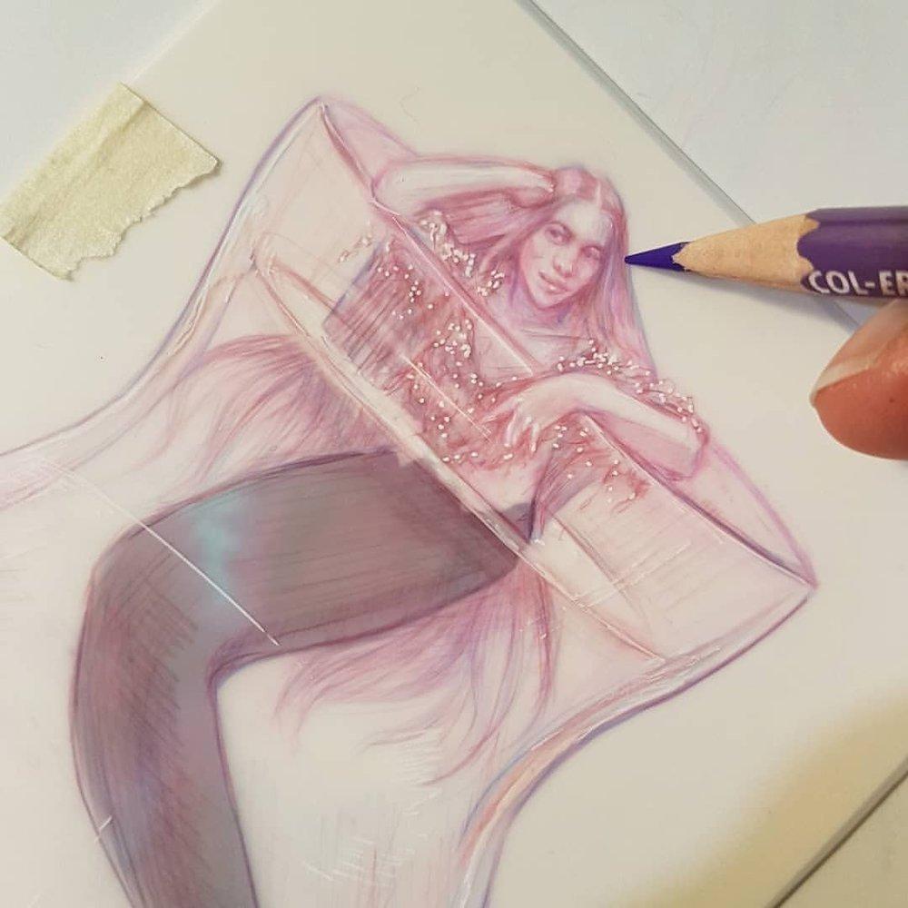 Just a mermaid chilling out in a vase 😁    Prismacolor Col-erase pencil and gel pen on matte Dura-lar paper     #MerMay #mermaid #belindaillustrates #australianartist #melbourneartist #may2018 #sketch #drawing #fantasyart #fantasyillustration #prettyinpink #mermaidart #art @changelingartist @grafixartsplastics  (at Melbourne, Victoria, Australia)