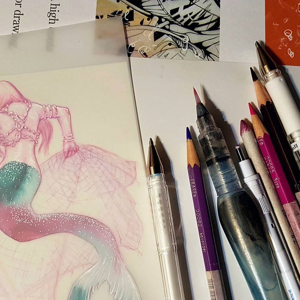 A sneak peak of a mermaid I'm working on drawn on matte Dura-lar paper (the tail is painted on a separate sheet of paper). Will post a better image once I've scanned it.    #MerMay #duralar @grafixartsplastics #colerase #prismacolor #pinkpencil #australianartist #melbourneartist #may2018 #mermaid #wip