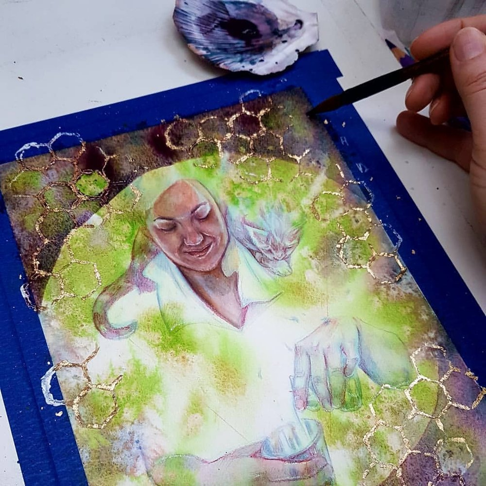 Just filmed another video for Patreon which I'll be uploading later this week. My patreon link is  https://www.patreon.com/belindaillustrates    More progress on my Alchemy painting for the Changelings Artist Collective auction happening next month. @changelingartist    #changelingartistcollective #alchemy #watercolorpainting #australianartist #melbourneartist #portrait #painting #cac #magical #cat #honeycomb  #goldleaf #wip