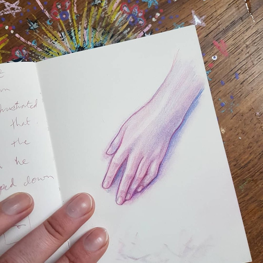 "Day 29 of #30daysofhands reaching the end! I know that spending time over this past month or so has definitely helped my ""handskills"" 😉😆 if you had a whole month to practice one thing every day what would you do?    #practicemakesperfect #prismacolor #pinkpencil #handstudy #april2018 #belindaillustrates #australianartist #melbourneartist #sketcheveryday #sketchbook #hands (at Melbourne, Victoria, Australia)"