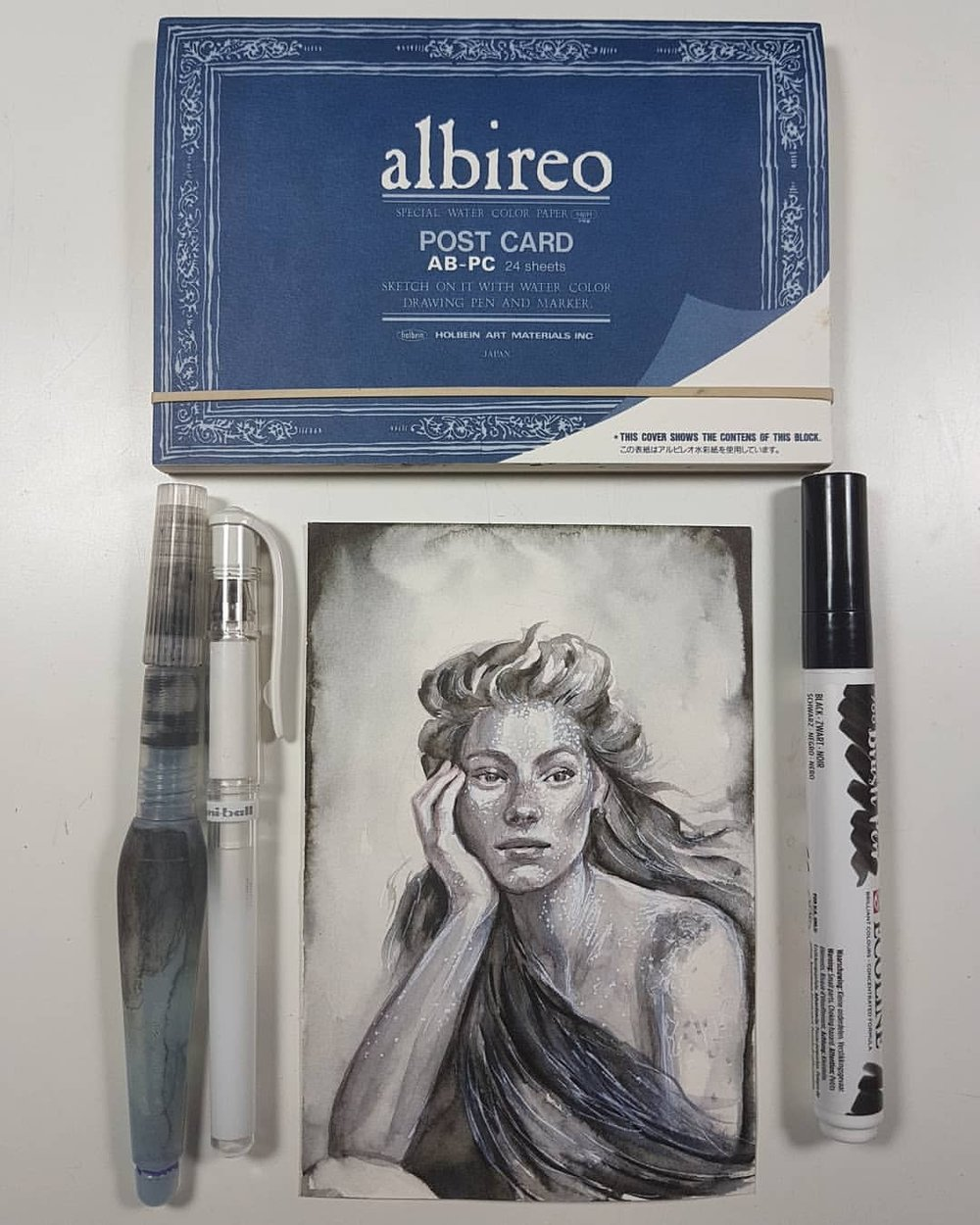 Day 27 of #30daysofhands using black Ecoline Brush marker, Pentel Aquabrush, white gel pen and Tuscan Red Col-erase pencil on Holbein Albireo watercolour postcard.    #kunst #art #inkwash #portraitstudy #bw #practicemakesperfect #ecoline #hands #australianartist #melbourneartist #april2018 #belindaillustrates #instagood #inkdrawing
