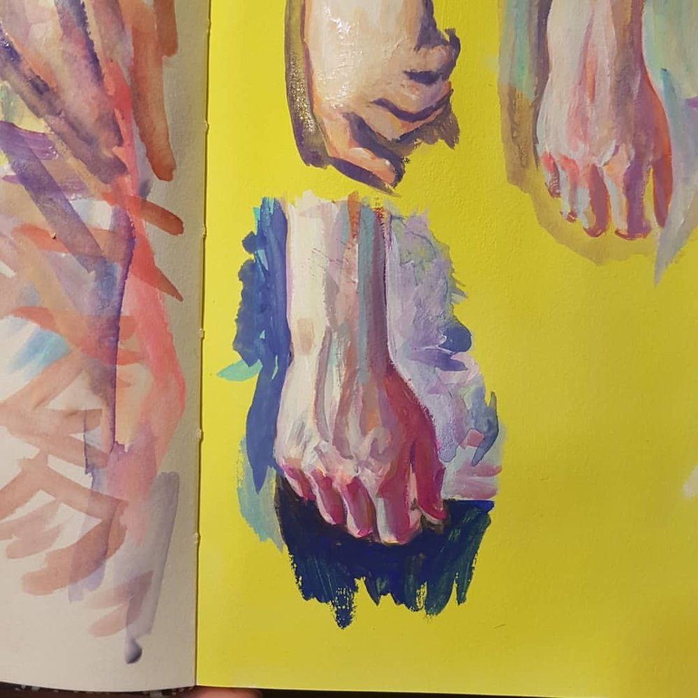 Day 24 of #30daysofhands despite feeling dog tired and failing nearly 3 times I managed to paint this hand. The yellow background was inspired by @winonanelsonart who did this great figure painting using yellow as her ground.   Hands! Yup I'm still going with it 😁 Day 23 #30daysofhands   #handstudy #sketchbook #practicemakesperfect #australianartist #melbourneartist #april2018 #acrylagouache
