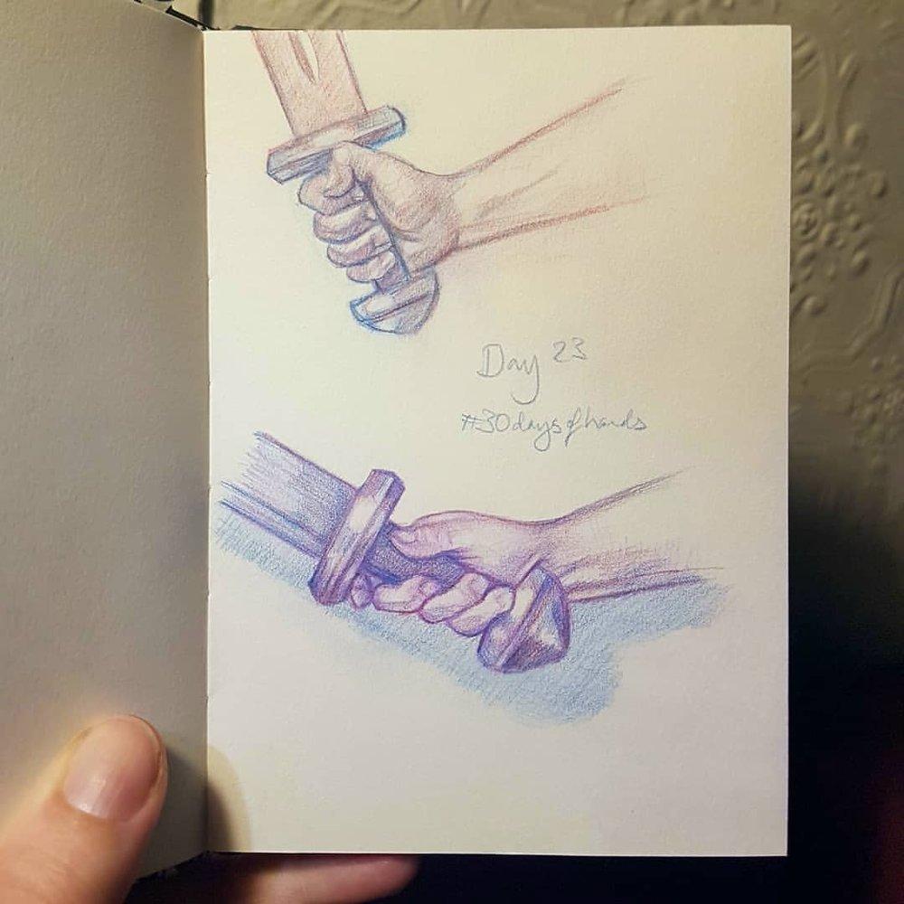 Hands! Yup I'm still going with it 😁 Day 23 #30daysofhands     #handstudy #sketchbook #practicemakesperfect #australianartist #melbourneartist #april2018 #prismacolor #swordhands