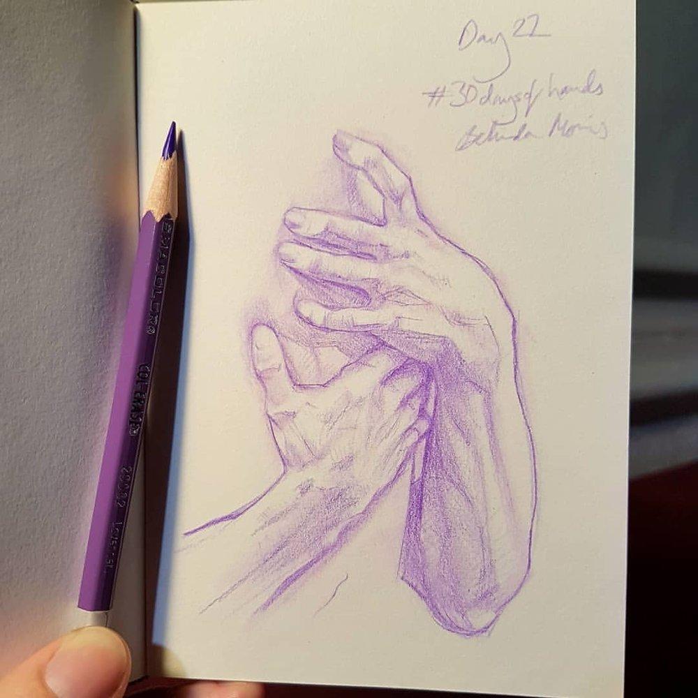 Day 22 of #30daysofhands from a sculpture by Jean-Baptiste Carpeaux    #sketchbook #handsketch #prismacolor #april2018 #practicemakesperfect ##sketcheveryday #purplepencil #belindaillustrates #australianartist #melbourneartist