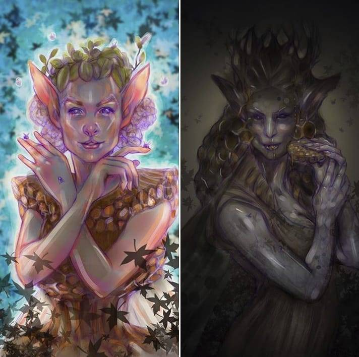 Here are the digital colour roughs I am working on for a pair of cards for a group project with the Changeling Artist Collective (hint is in the hashtags). It was fun to paint in digital - something I haven't done in a while 😊    #workinprogress #wip #colourrough #digital #oddfae #honeycomb #fa #faery #fairy #fantasyart  #changelingartistcollective @changelingartist #belindaillustrates #april2018 #photoshop #oldmaidcards