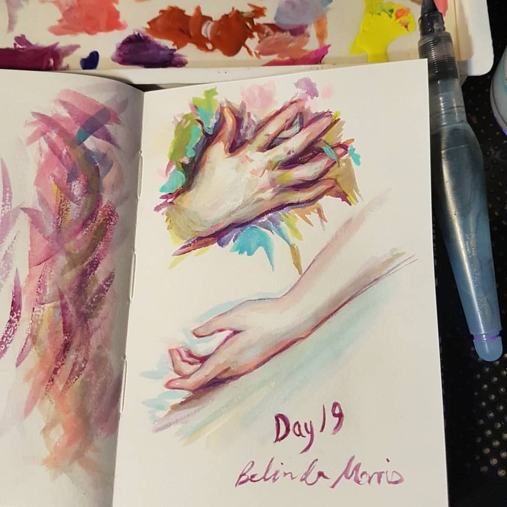"Day 19 of #30daysofhands here's a study of a painting by Etienne Adolphe Piot ""Jeune Femme"" in Holbein Acryla Gouache   Enjoy 😁    #sketcheveryday #sketchbook #practicemakesperfect #acrylagouache #handspainting #hands #april2018 #australianartist #melbourneartist #belindaillustrates"