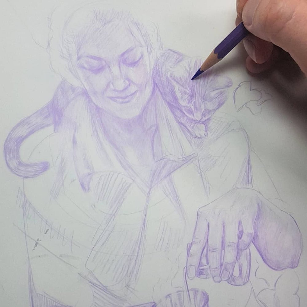 Working on a sketch for the Alchemy themed Changeling Artist Collective auction in May… Yup I'm the model for the sketch the cat unfortunately was made up.  And this counts as #30daysofhands ? Day 17 😁    #wip #alchemy #witch #familiar #purplepencil #belindaillustrates #australianartist #melbourneartist #april2018 @changelingartist