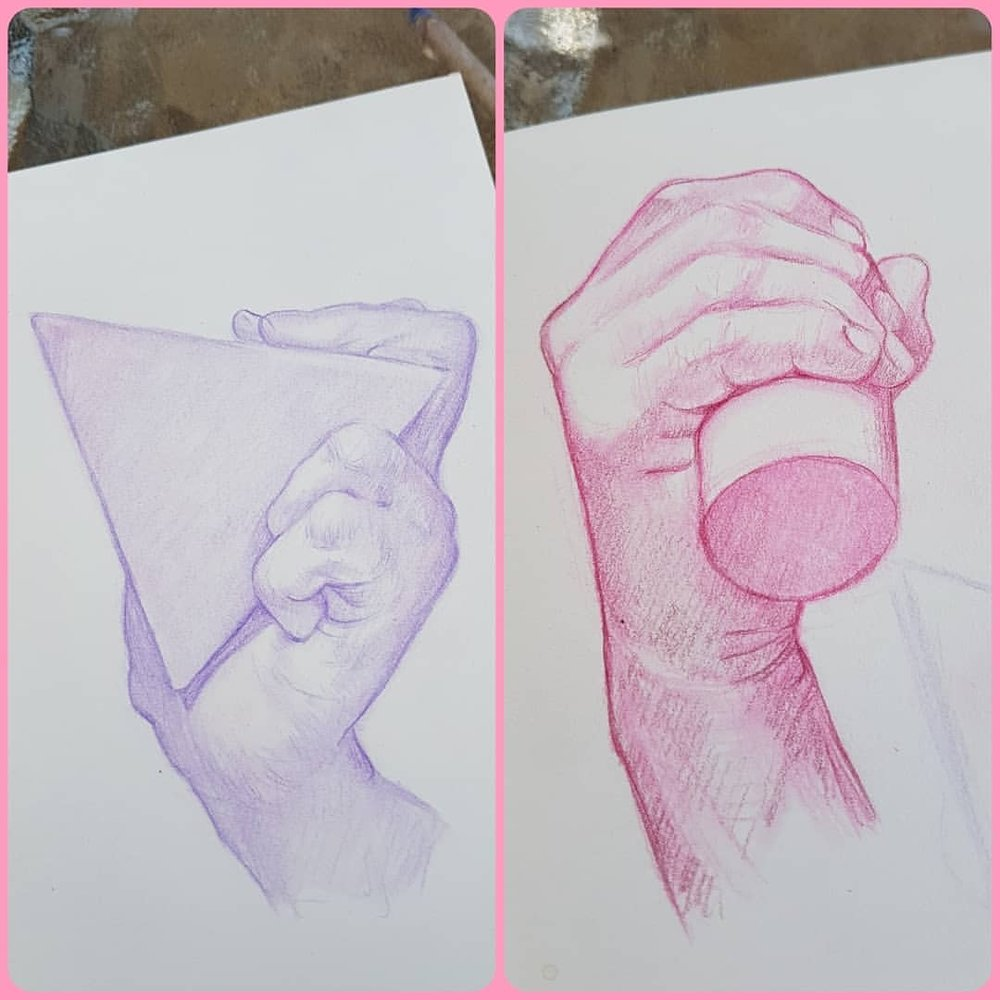 Day 16 of #30daysofhands and Happy Good Friday/Easter I've been a bit slack drawing lately so here's 2 hands for ya! I hope you are all sleeping in and gorging on chocolate eggs like I've been doing (or however you prefer spending a public holiday) 🥚🎊♥🍫    #easterholiday #sketcheveryday #hands #pinkpencil #purplepencil #belindaillustrates