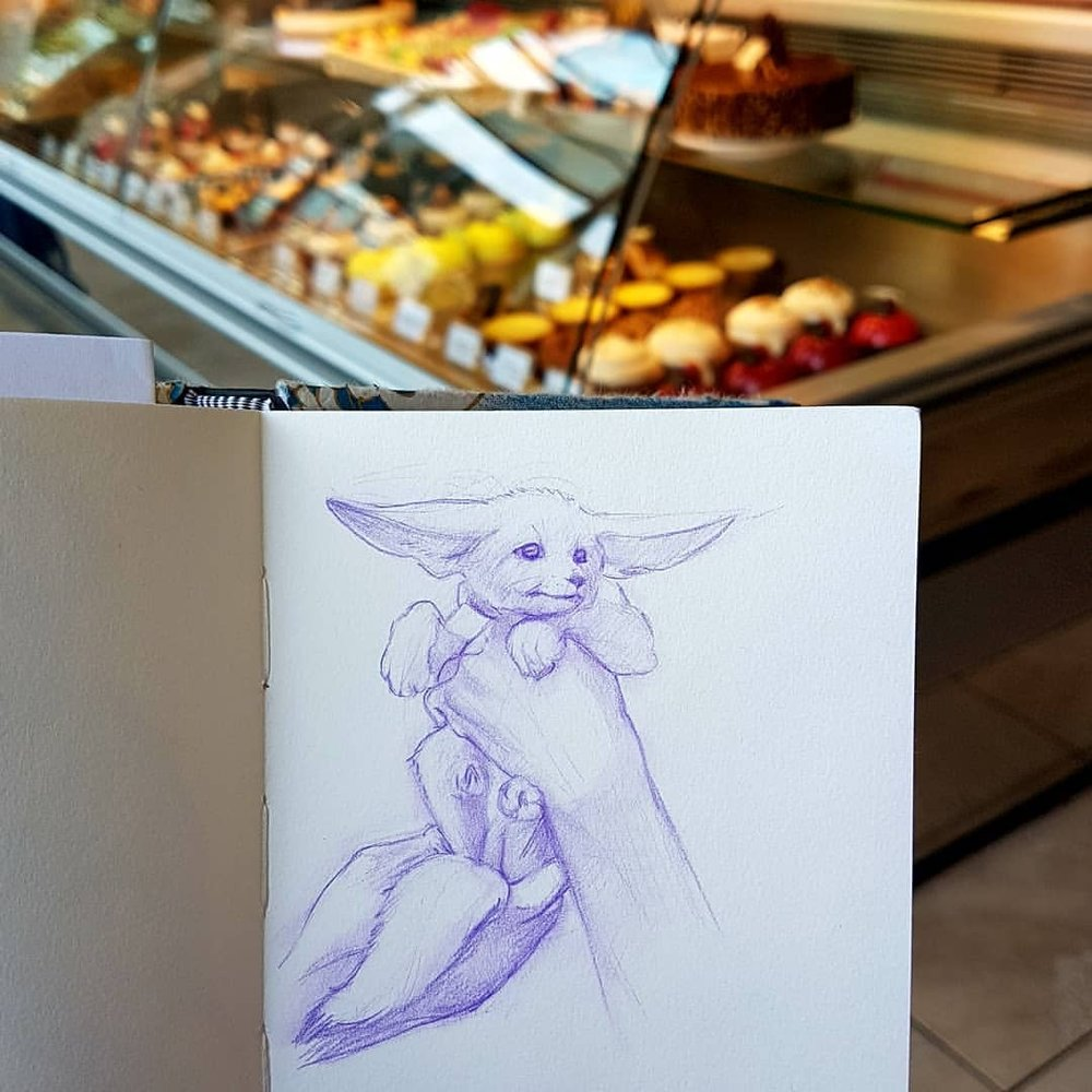 Day 15 of #30daysofhands here's a little fennec fox puppy I drew while having coffee at my local cafe. Sad to hear one of my favorite baristas is moving on but happy to hear it's to greener pastures 😁 good luck @marymendoza    #purplepencil #purple #colerase #artandcoffee #sketchbook #sktchy #australianartist #melbourneartist #march2018 #practicemakesperfect #kunst #fennecfox  (at Laurent Bakery)