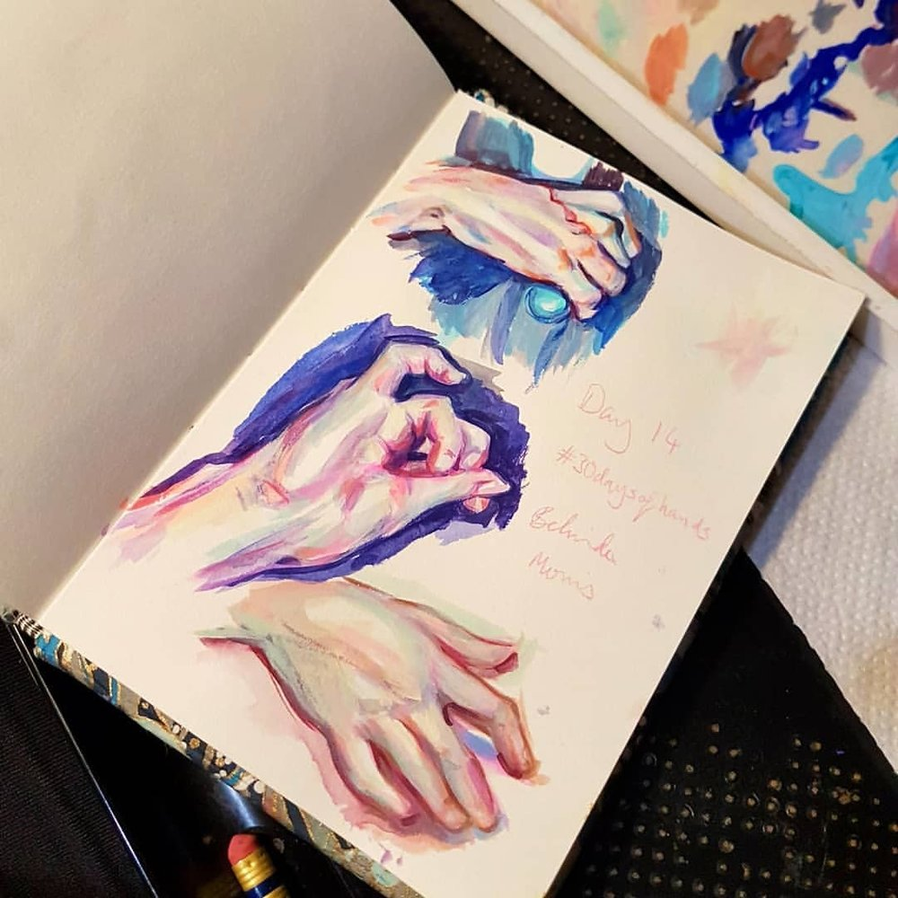 Day 14 of #30daysofhands here I have Acryla Gouache studies of hands from Bougereau and Jeremy Geddes (who I just found who also lives in Melbourne). If you swipe you can see some of my art kit in an @etchr_lab Field case alongside my A6 sketchbook for comparison. Unfortunately the gouache palette doesn't fit so I'll probably have to update to their Slate satchel eventually 😁    #acrylagouache #holbein #paintedhands #paintstudy #sketchbook #sktchy #australianartist #melbourneartist #march2018 #practicemakesperfect #kunst #masterstudies