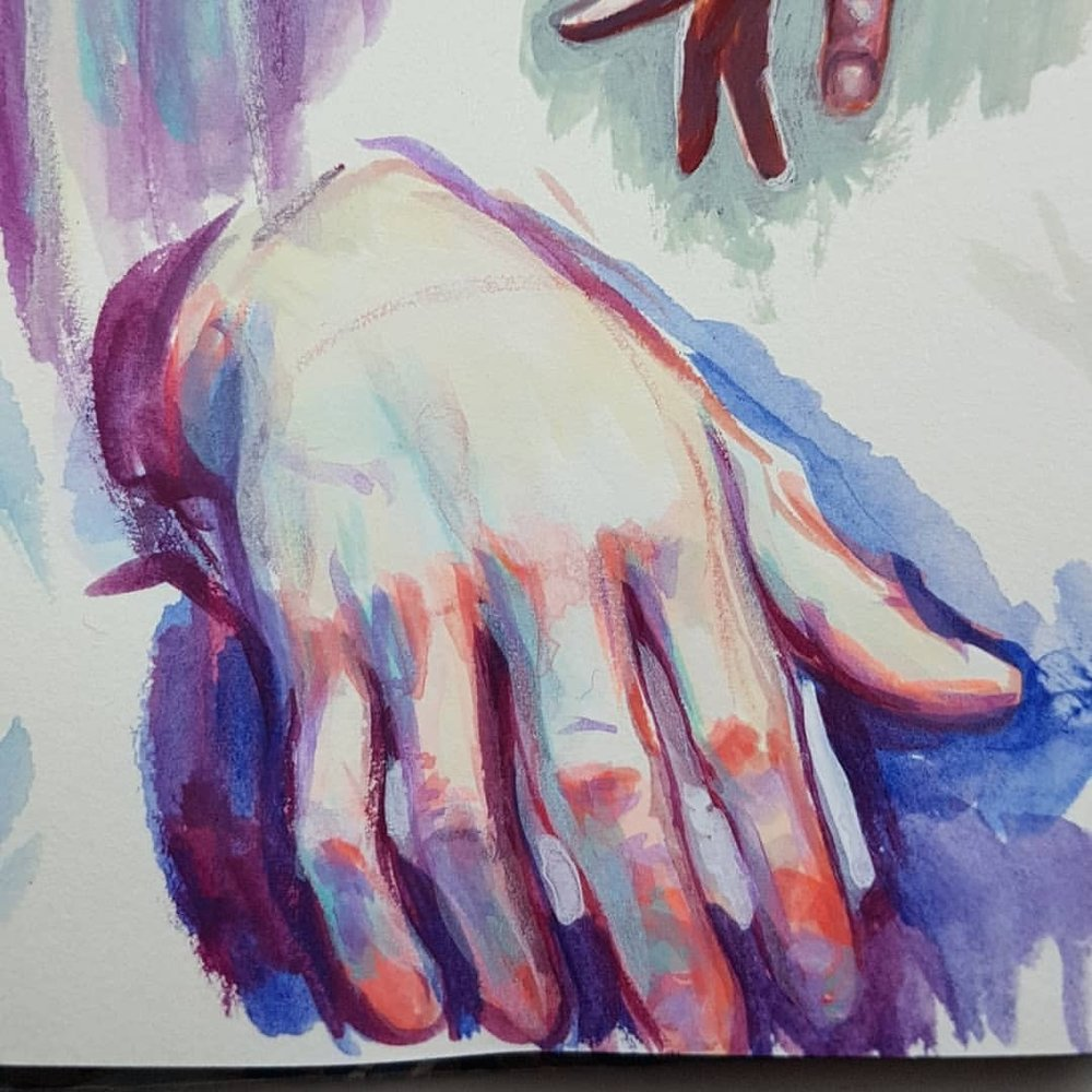 Day 13 of #30daysofhands used to Holbein Acryla Gouache today for my studies. Started out just using 3 colours but when one of the tubes burst open while painting at a local cafe I decided to finish off the studies at home where I had access to more colours. Really loving the bottom one with its tangy orange (made from a mix of opera pink and lemon yellow).     #acrylagouache #holbein #paintedhands #paintstudy #sketchbook #sktchy #australianartist #melbourneartist #march2018 #practicemakesperfect #kunst