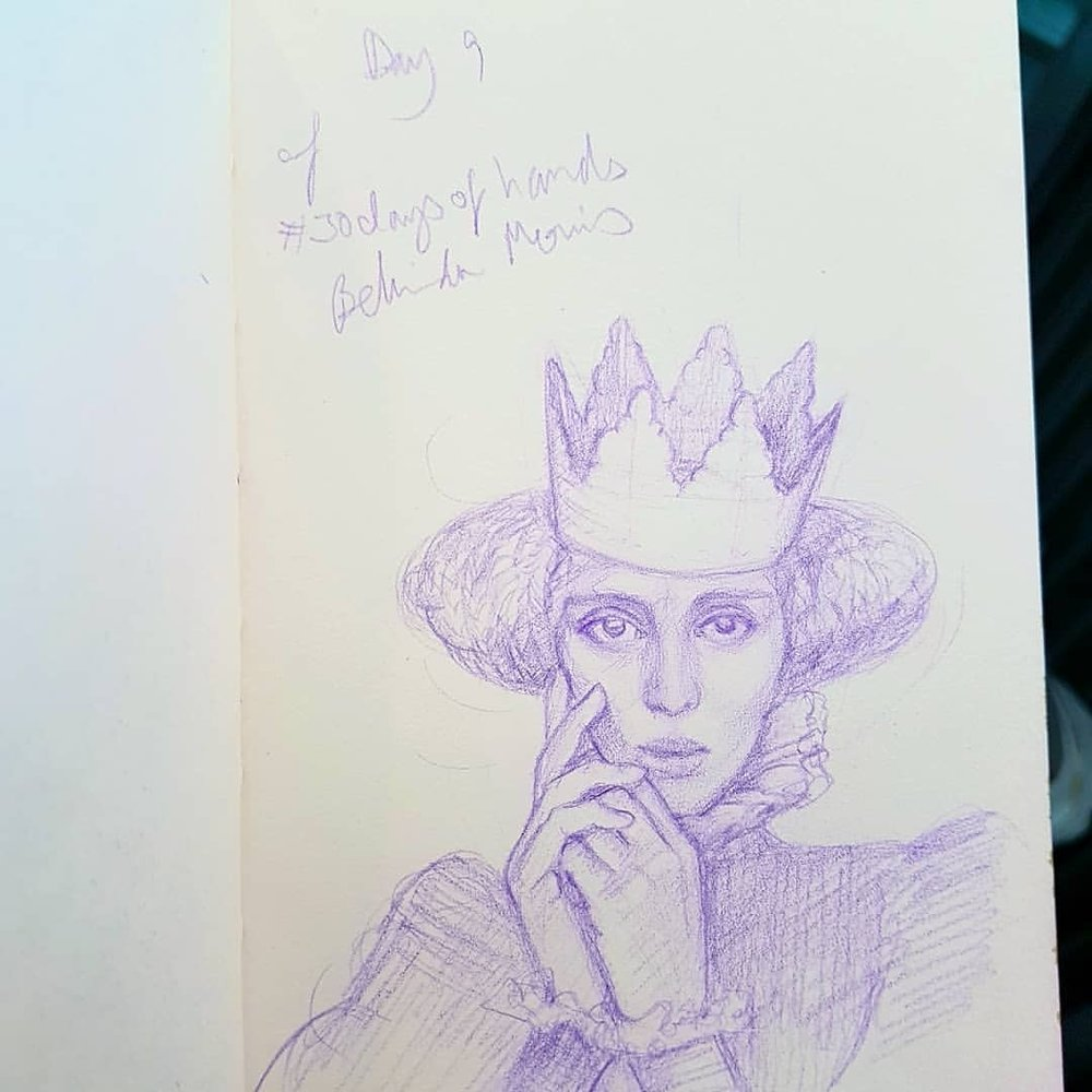 Quiet moments between serving customers are a great time to sketch as you don't have very long to do too much fussing. Day 9 of #30daysofhands with Lavender prismacolor Col-erase pencil. Thinking this might be a great illustration of the Queen from The Light Princess by George MacDonald.    #thelightprincess #kidlitart  #illustration #queensketch #fairytale #belindaillustrates #purplepencil #sketcheveryday #australianartist #melbourneartist #march2018 @changelingartist