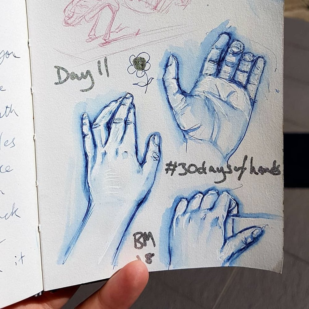 Day 11 of #30daysofhands used my own hands for reference here. Gel pen and ink wash in sketch book.    #blueink #inkdrawing #hands #practicemakesperfect #belindaillustrates #australianartist #melbourneartist #march2018
