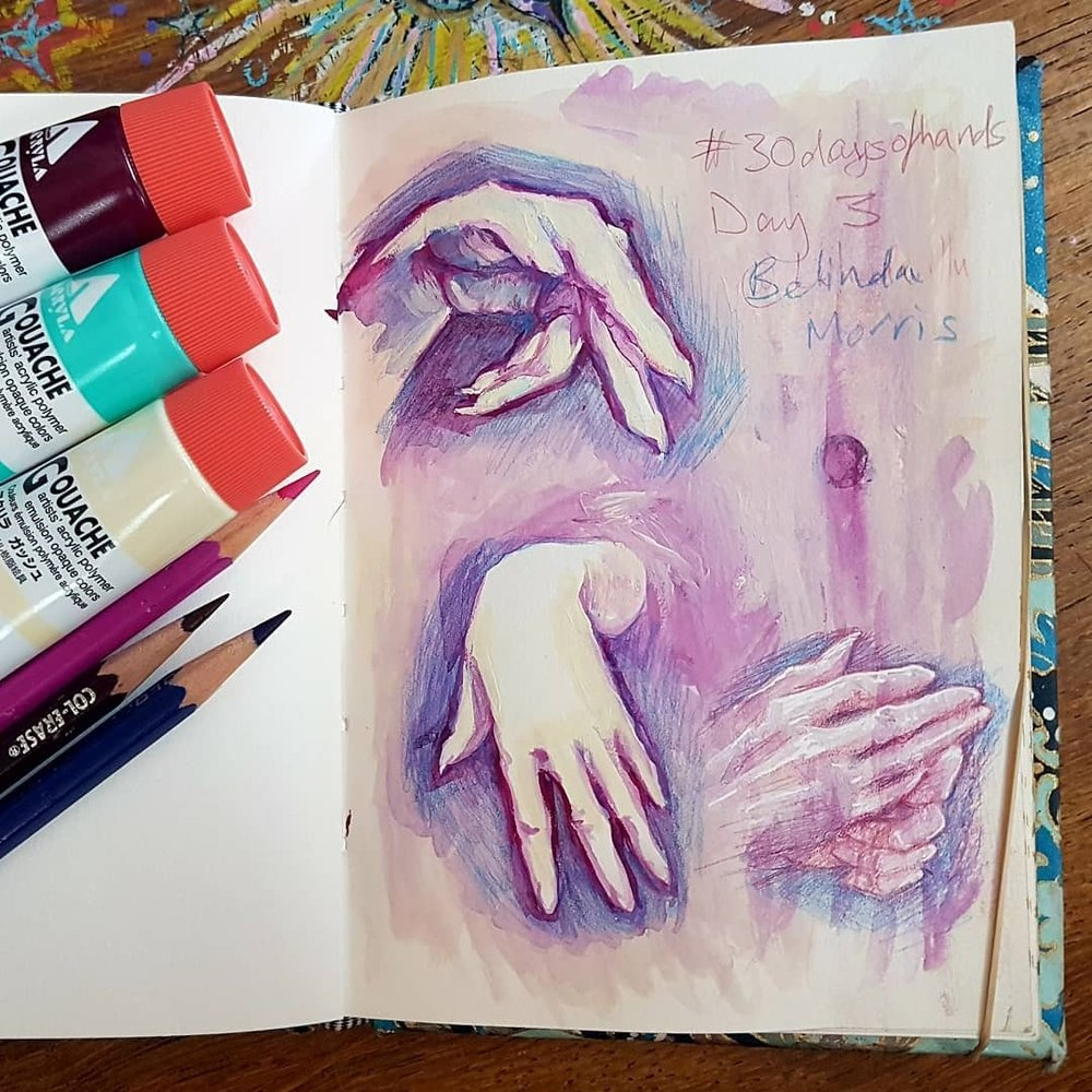 Day 3 of #30daysofhands here I attempted to use Acryla Gouache. It was a hot day in Melbourne yesterday so I was struggling with it drying too fast.  Colours used were Deep Magenta, Ivory White and Ice Green. I also used some Prismacolor Col-erase Pencils including Tuscan Red, Rose and Blue.    #hands #handsketch #practicemakesperfect #belindaillustrates #australianartist #melbourneartist #belindaillustrates #march2018 #acrylagouache