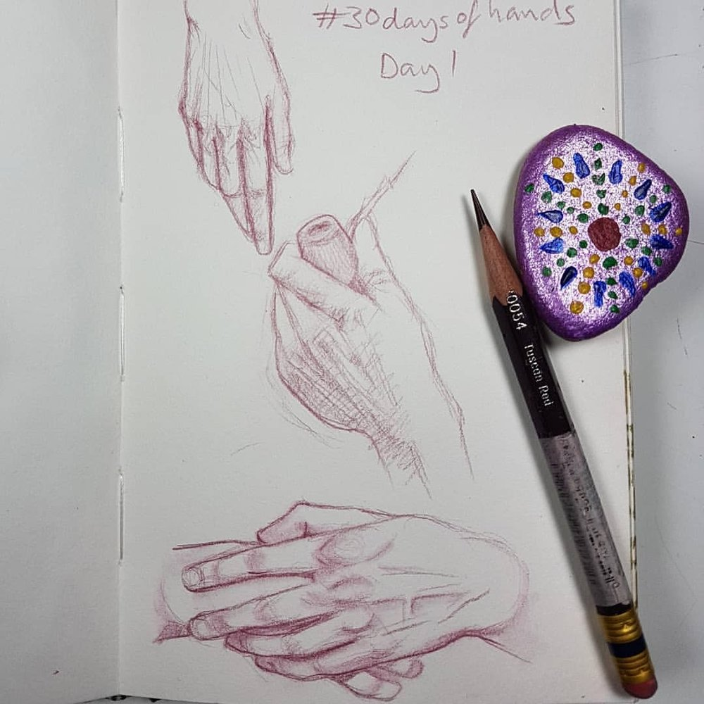 I did #30faces30days now I'm going to tackle #30daysofhands here's Day 1 👐    #prismacolorcolerase #tuscanred #hands #practicemakesperfect #sketchbook #sketcheveryday #sketch #belindaillustrates #march2018 #australianartist #melbourneartist