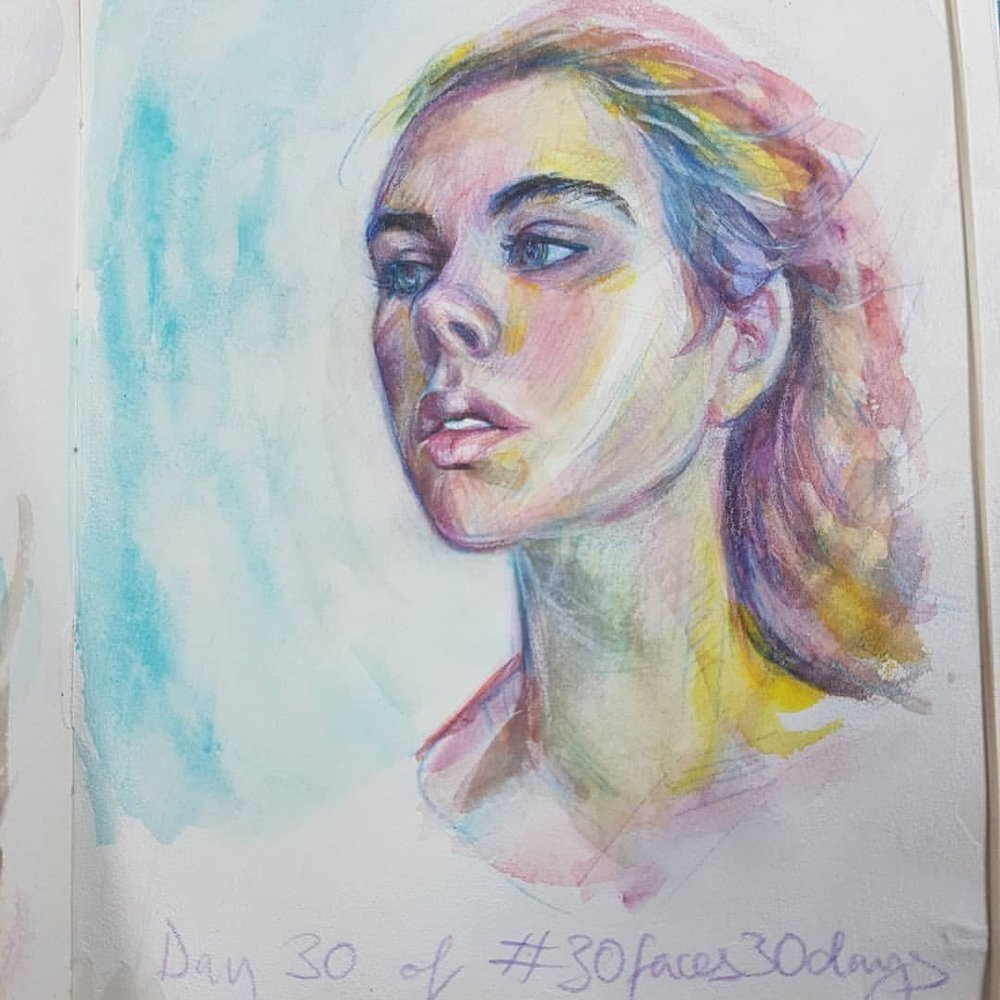 Day 30 of #30faces30days here is a portrait based on the photo provided by Weeni Copini via the Sktchy app.    Watercolour and pencil in sketchbook     #watercolorpainting #australianartist #melbourneartist #portrait #rainbow #sketcheveryday #march2018 #belindaillustrates #kunst