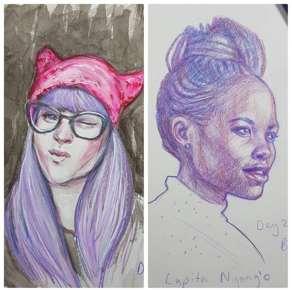 Here's the purple loveliness from Day 27 and Day 28 of #30faces30days Day 27 uses the photo of Lauren Jän and I decided to draw Lupita Nyong'o (actress from Black Panther). So many beautiful actresses in that film 😊 great movie too!    @sktchyapp #portraits #blackpanthermovie #lupitanyongo #purplepencil #sketchbook #portraitdrawing #march2018 #australianartist #melbourneartist @changelingartist #practicemakesperfect