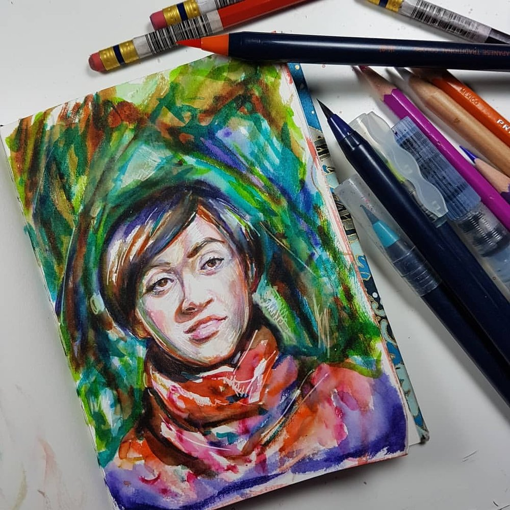 Day 22 of #30faces30days using the @sktchyapp here's a study of Jenell Duhhcid. I decided to use my Sai watercolour brushes for this one as I haven't used them for a while and they give such a strong intense colour which forces me to make bolder colour choices.    #watercolorpainting #saiwatercolorbrushpens #saibrushpen #portraitstudy #sketchbook #kunst #belindaillustrates #february2018 #dailysketches #australianartist #melbourneartist #practicemakesperfect