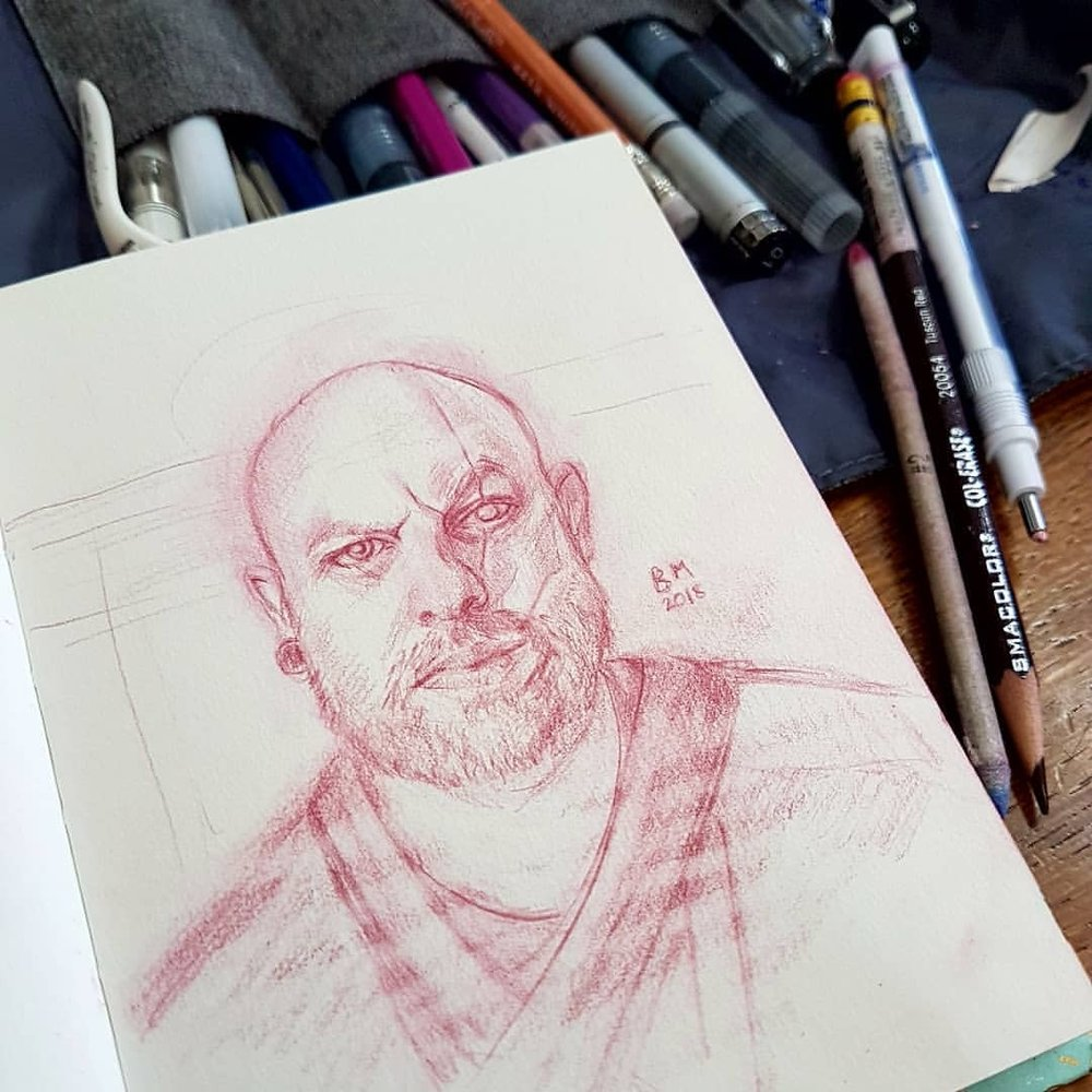 Day 9 of #30faces30days using Day 10's reference of Darryn Madson. I'm a bit behind (4 days) so I'll attempt to catch up today. Here I've converted Darryn into a scarred pirate of the high seas     Tuscan Red Col-erase pencil in sketchbook     #pirate #portraitsketch #sketchbook #redpencil #kunst #portraitillustration #belindaillustrates #february2018 @changelingartist @sktchyapp