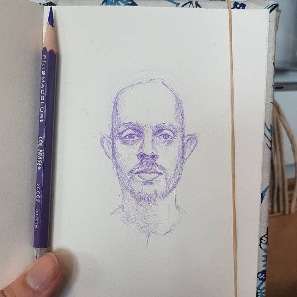 I joined the group @sktchyapp for the #30faces30days here's Day 1's offering courtesy of Adam Vitry. Thanks @marcscheff for recommending the group 👍    #sketch #sketchbook #portraitdrawing #prismacolorcolerase #australianartist #melbourneartist #purplepencil #february2018
