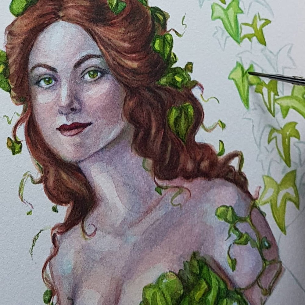 On the easel right now - guess who 🍃    #watercolorpainting #workinprogress #dccomics #fanart #february2018 @changelingartist #artcommission