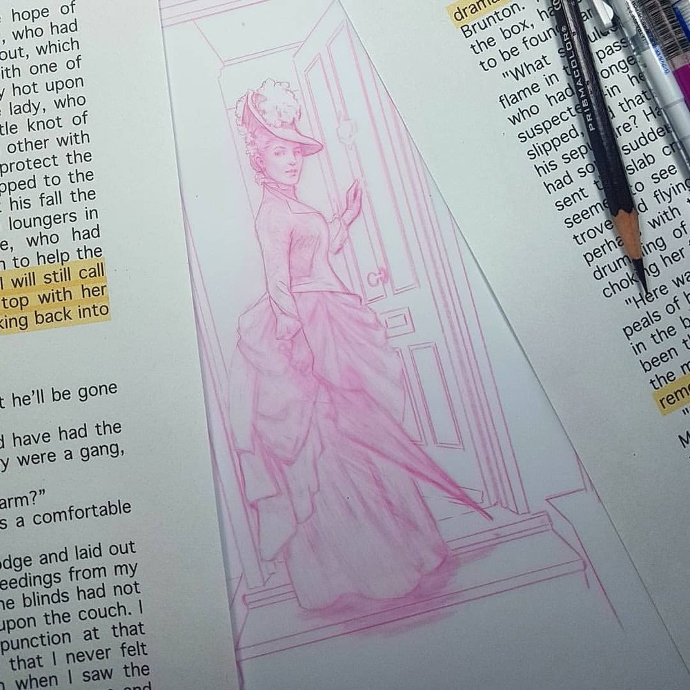 "Work in progress for ""That Woman/A Scandal in Bohemia"" by Arthur Conan Doyle.  Prismacolor Col-erase pencil on Matte D ura-lar  @changelingartist #sherlockholmes #ascandalinbohemia #wip #thatwoman #ireneadler #illustration #pinkpencil #australianartist #melbourneillustrator #victoriana #january2018 #belindamorris"