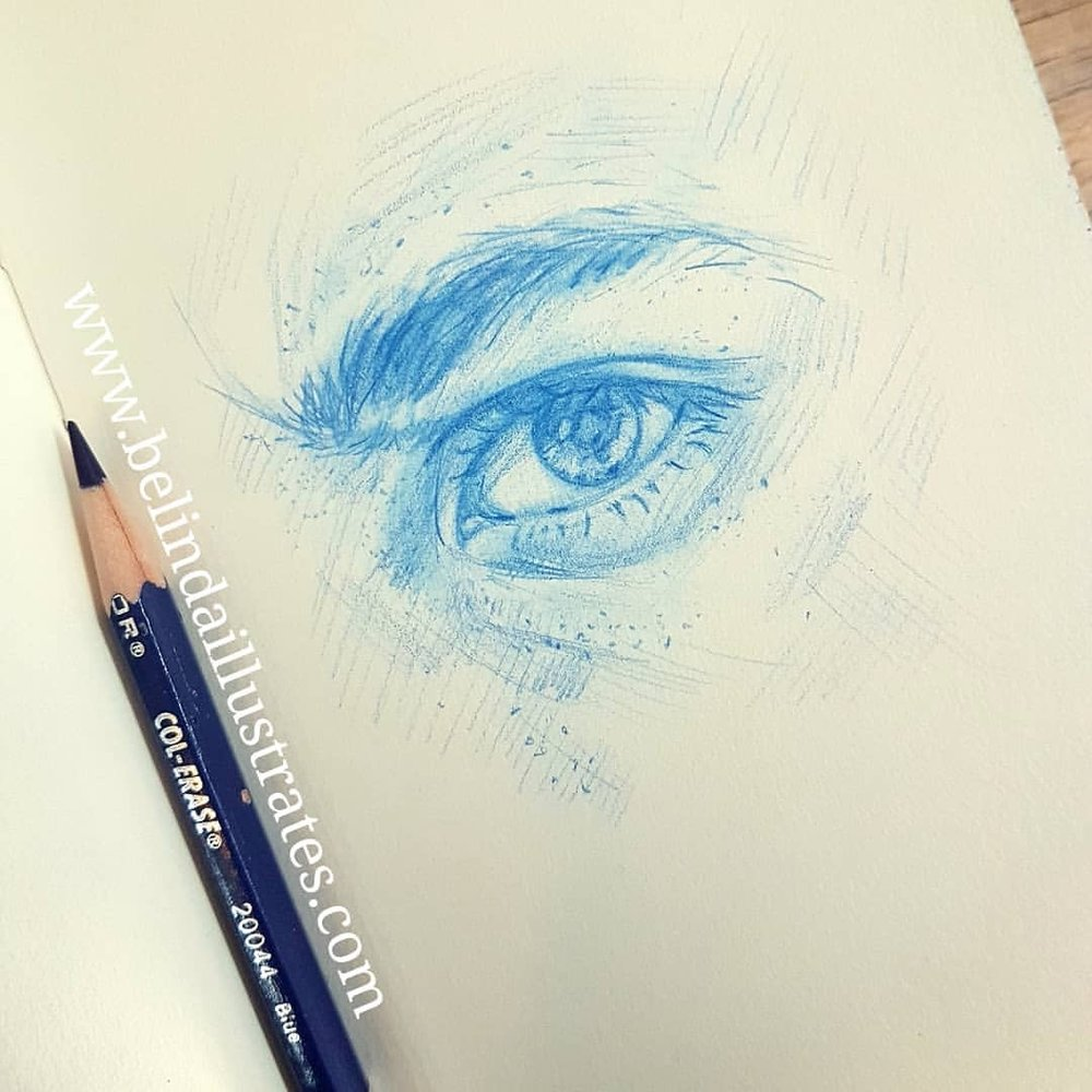 An inquisitive eye for a famous detective. A work in progress for the Folio Society Book Illustration Competition.    Blue Prismacolor Col-erase pencil on cartridge paper.    #eye #bluepencil #sketchbook #sketch #december2017 #foliosocietybookillustrationcompetition