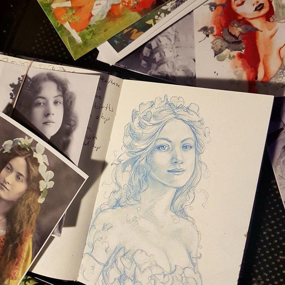 Currently working on a Poison Ivy commission 😁   Prismacolor Col-erase blue pencil in 160g sketch book.  #poisonivy #dccomics #portrait #vintage #belindaillustrates #november2017 #comics #commision