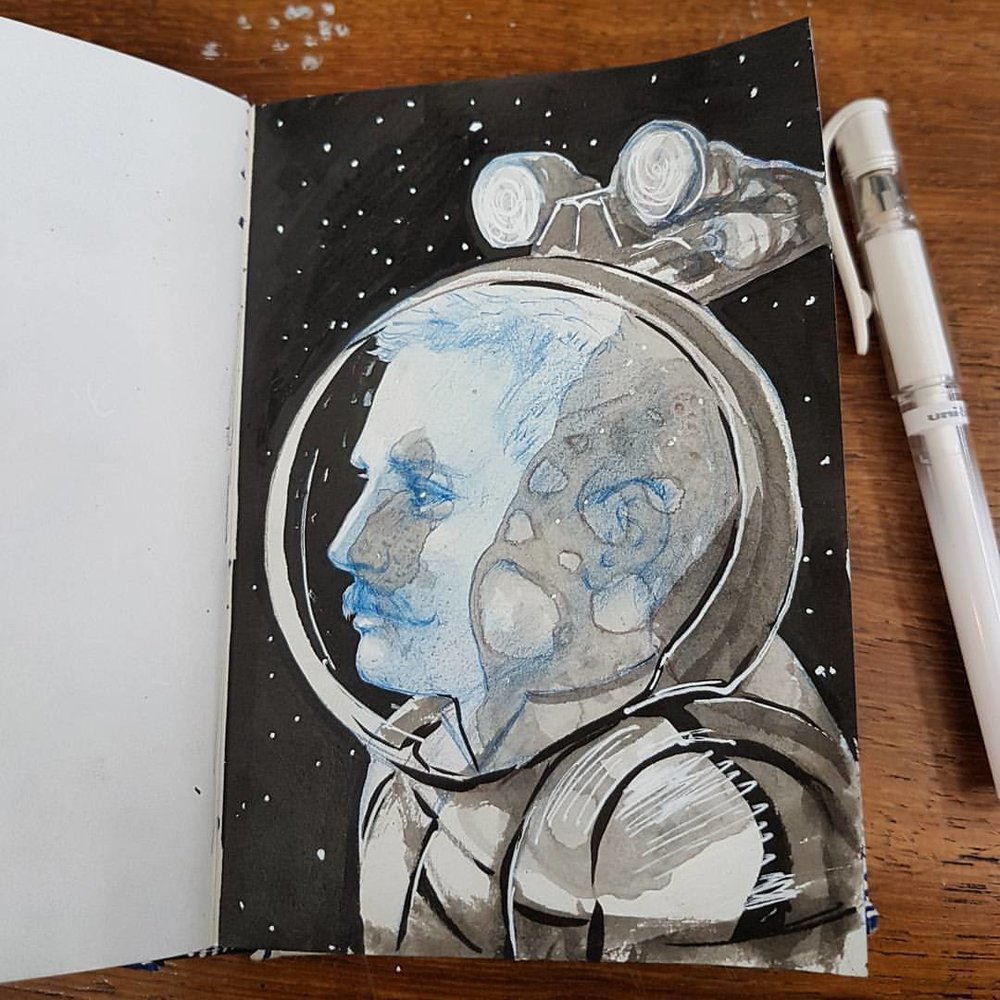 A little Edwardian Spaceman sketch for today 😁  Ink, Col-erase pencil and gel pen in A6 sized sketchbook.  #sketchbook #edwardian #spaceman #astronaut #sketch #australianartist #melbourneillustrator #november2017 #belindaillustrates