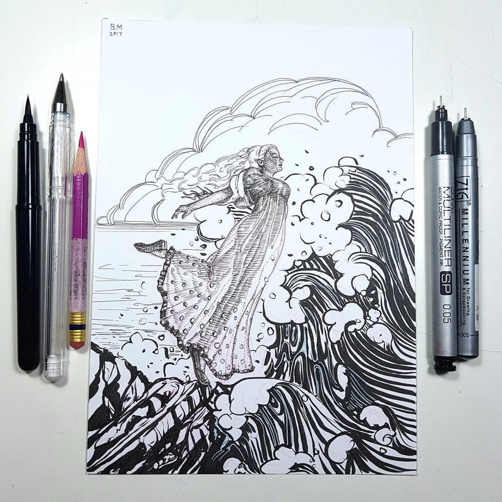"""Letting herself fall into the waves the Little Mermaid was united with the spirits of the deep and became one of the daughters of the air.    Inktober prompts were """"fall and united""""    Materials used include Prismacolor Col-erase Rose pencil, Copic multiliner, Zig multiliner and Pentel brush pen on Bristol board.    Even though Inktober is officially over I'm still going to finish the list. I have 2 more prompts to do and then Inktober is finished for me for this year.    @inktober @jakeparker #inktober2017 #inktober #belindaillustrates #blackandwhite #illustration #australianartist #melbourneartist #melbourneillustrator #ink #littlemermaid"""