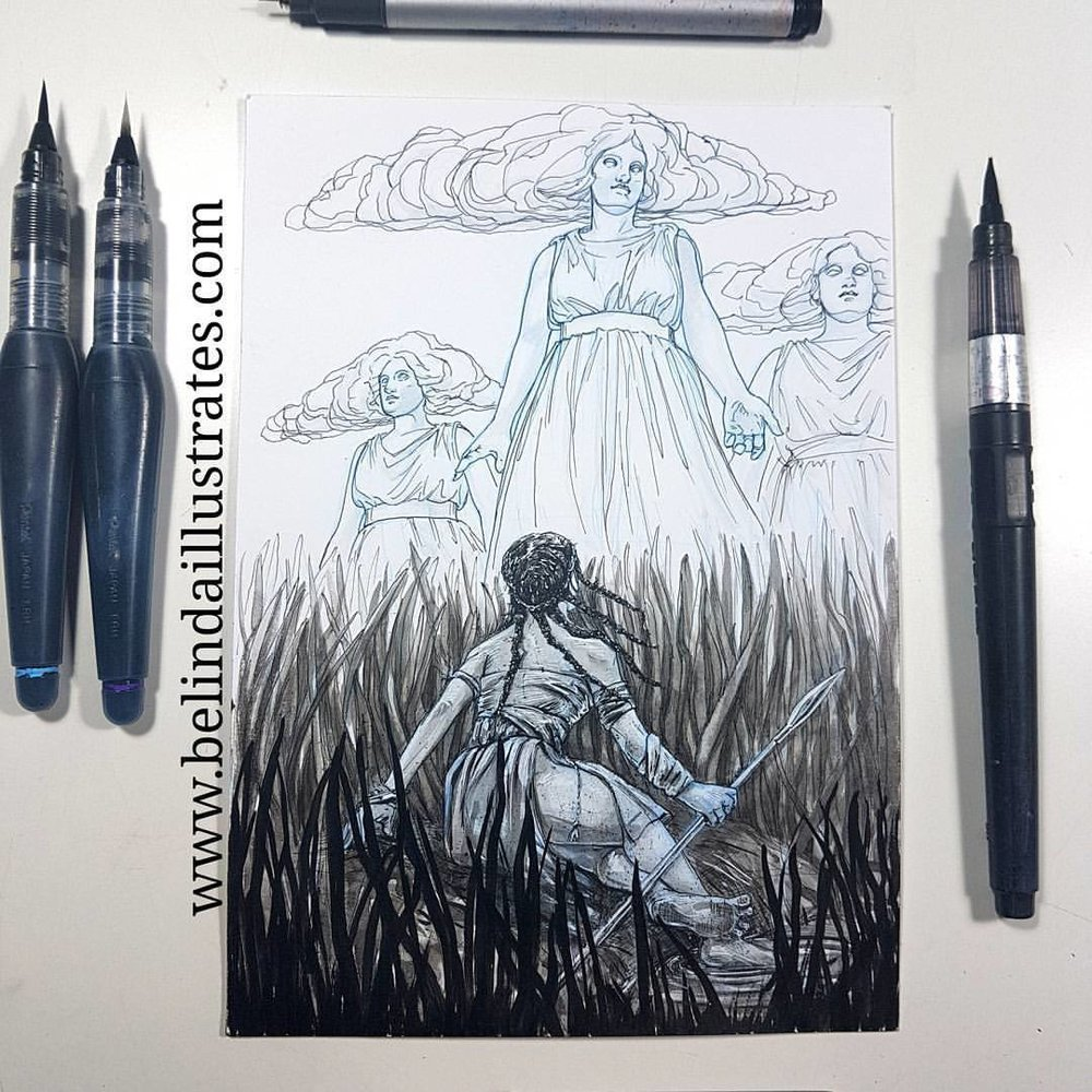 "She was exhausted and filthy, thankfully the water cooled her feet. Suddenly over the horizon appeared a grace, a goddess perhaps, with two identical attendants. All three were wreathed in cloud and yet they saw her.    Inktober prompts were ""graceful, filthy and cloud "". Materials used were Copic multiliner, zig multiliner pen, zig brush pen, white gel pen and Pentel brush pen over blue Prismacolor Col-erase pencil on Bristol board.    @jakeparker @inktober #inktober #inktober2017 #belindaillustrates #knight #beetles #blackandwhite #inkillustration #australianartist #melbourneartist #melbourneillustrator"