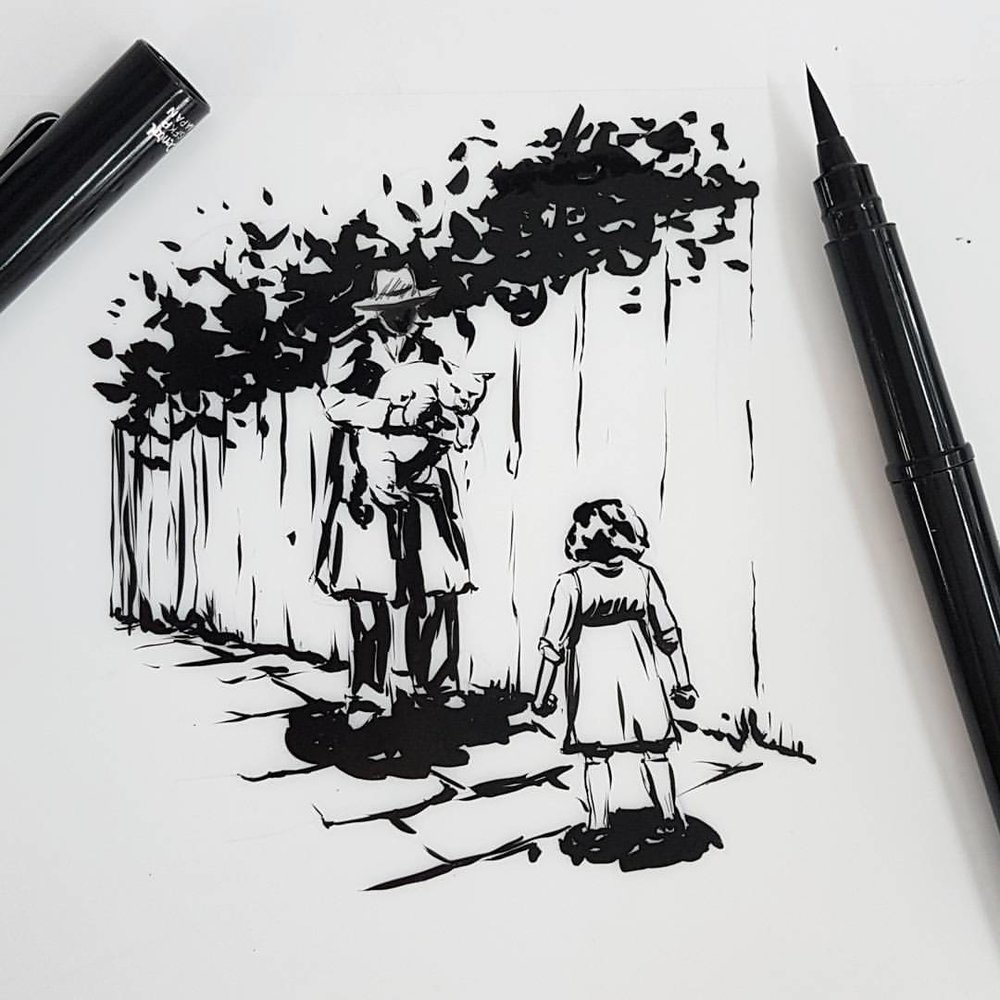 "Looking for the fat round shape of her cat in the alleyway, she came across a mysterious figure and in his arms was her cat fiercely struggling to get out of his hold.    Managed to do this small sketch for @inktober with the prompts being ""fierce, mysterious and fat"". Materials used are Pentel brush pen on matte Dura-lar.    @jakeparker #inktober2017 #inktober #belindaillustrates #blackandwhite #illustration #australianartist #melbourneartist #melbourneillustrator"