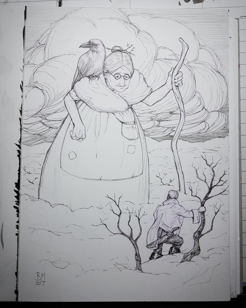 """Inktober prompts were """"crooked, screech and gigantic"""".    With crooked staff in one hand and a screeching raven on her shoulder, the giantess nimbly strode through the forest towards him. At that moment he was reminded of his grandmother walking through fields of wheat looking for weeds to pull out.. """"SREEEEEEEECH!!"""" """"Don't mind him,"""" said the giantess, """"he hasn't had his supper.""""     Before I start out on my inks I usually sketch out in a Prismacolor Col-erase pencil either a blue or as used in this case lavender. Inks are a 0.05 Copic multiliner pen on Bristol.  #inktober #inktober2017 @jakeparker @inktober @changelingartist #penandink #illustration #australianartist #melbourneillustrator"""