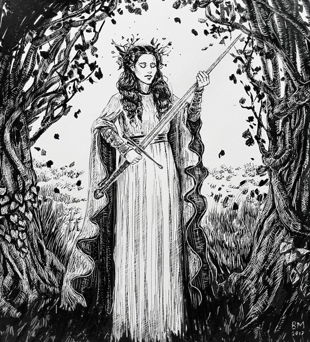 "My take on the Inktober prompts 5-7 which are ""long, sword and shy""     - A maiden of the forest held the longsword shy of it's sharp, pointed end.    Talens Indian ink on Ampersand clayboard which has been scratched back with etching point and hobby knife and defined with Copic multiliner.   #inktober @inktober @jakeparker #inktober2017 #belindaillustrates #blackandwhite #scratchboard @ampersand_art #clayboard #ink #australianartist #melbourneartist #melbourneillustrator #fantasyart"