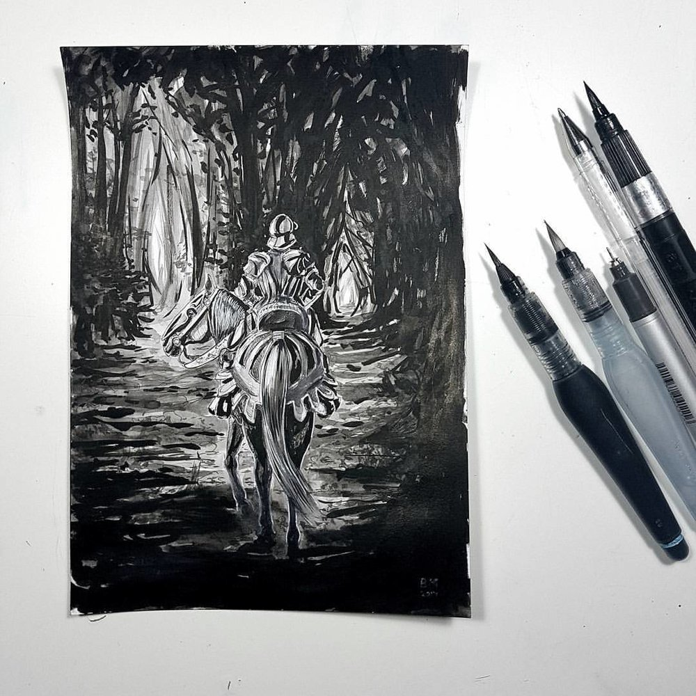 """Divided"" 2nd prompt from @inktober pen and wash on Bristol board #inktober #inktober2017 #belindaillustrates #knight #forest #blackandwhite"