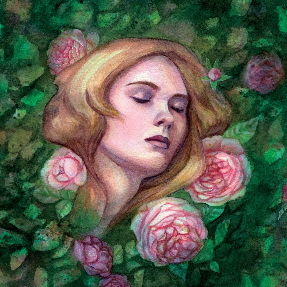 """Sleeping Beauty""  Watercolour, gouache and digital.    If you are interested in a print of this image you can purchase it here  https://www.redbubble.com/people/artybel/works/27656761-sleeping-beauty  and if you use the code BOOKMUGBAG in checkout over the next 24 hours you can get 25% off Spiral Notebooks, Mugs and Tote Bags :) I think I might just get myself a tote bag…."