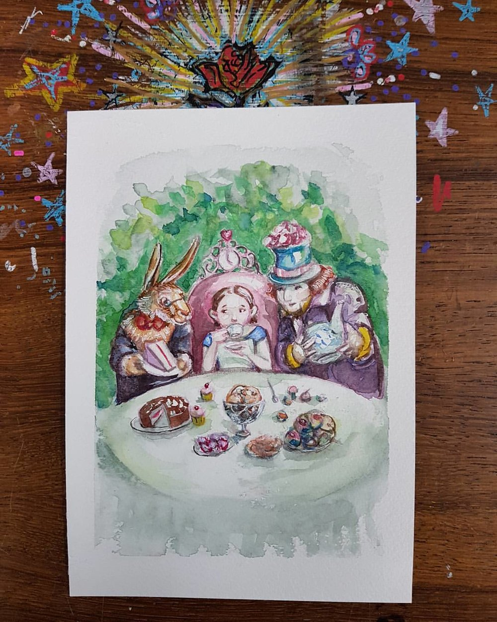 A Mad Tea Party that will be up for sale next week via the @changelingartist Facebook page. Managed to finish this today between serving some really lovely customers at the art store I work at  (just wish they had of spent more 😉). Watercolour and gel pen on 300gsm Fluid Cold Press. Starting bid is $95.