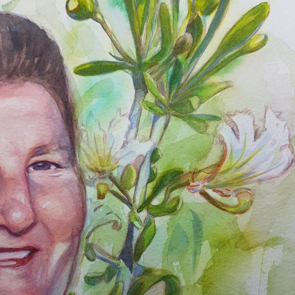 A close up of one of the Mullewa Community Volunteers portraits that I'm currently working on. Now that I've reached the last portrait I want to go back and redo the other 3 😁😭 #watercolor #portrait #watercolourpainting #australiannativewildflowers #australianartist #melbourneartist #belindaillustrates #august2017