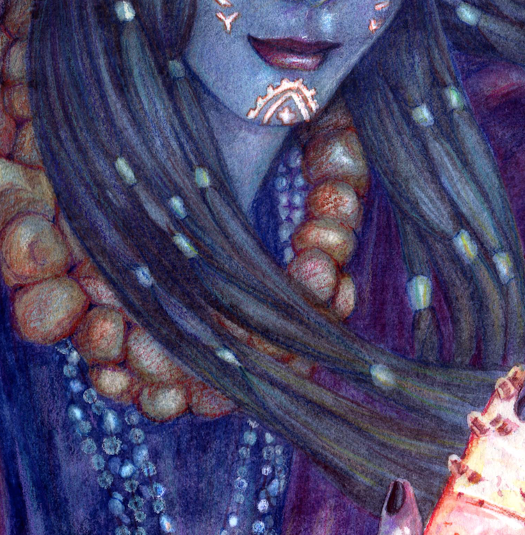 """Here's another sneak peak of my painting""""The Shaman Priestess of Kismet"""" for theexhibition The Lost Isle of Kismet by  @lightgreyartgallery , which will be coming out later this year.  In the end I found that scanning the painting was the best way of capturing the image. Once scanned I stitched the 2 halves together using Photoshop (the full image was too big to be scanned as a whole), after which I was able to go back into the image and adjust certain things like saturation and contrast.  The finished painting has now been submitted and all that is left is to write my artist bio :) By the way there will be prints available once the exhibition is opened, more details to come.   www.belindaillustrates.com"""